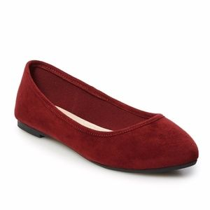 SO Hitide Red Pointed Toe Flats Shoes